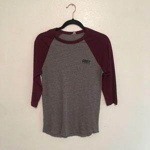 OBEY baseball ⚾️ t-shirt/3/4 length sleeve